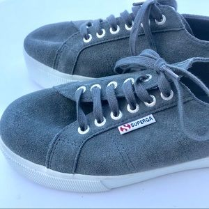 Superga Shoes - Superga Gray Suede leather Platform Sneakers 9.5